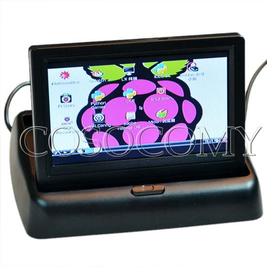 "High quality 4.3"" Flip TFT LCD Screen Monitor 480 X 272 for DIY Raspberry Pi Monitor UK Plug"