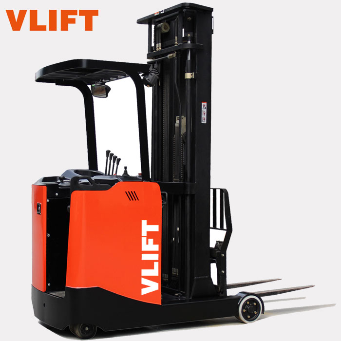 1.5 ton electric reach truck forklift for narrow aisle crossways