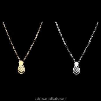 New Arrival Gold and Silver Dainty Pineapple Pendant Necklace for Women Party Gift Cute Fruit Necklace