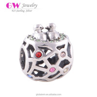 Engravable Round Charms Wholesale Bird Nest Pendant Jewelry Rhinestone Charms X009