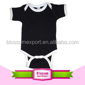 Western style black romper white binding toddler bodysuit china supplier baby boy clothes