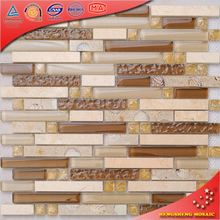 KS157 brown and white glass crystal mosaic sea shell resin pebble tile for hotel wall decorative
