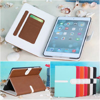 2014 Newest Cross Pattern Mixed color leather case for ipad mini 2
