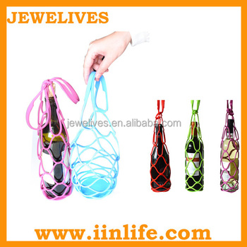 Promotional wine accessories net silicone wine bottle carrier