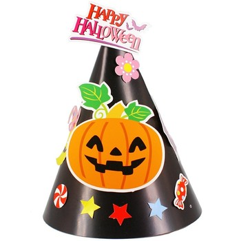 Custom printing funny design children cone paper witch hat halloween for party