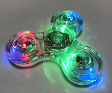 Clear LED Tri Fidget Hand Spinner EDC Finger Spin Stress Focus Desk Gyro Toy Hot
