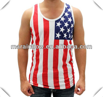 Bulk Wholesale Clothing Made in China ,100% Cotton American Flag Tank Top / Singlet / Vest for Men