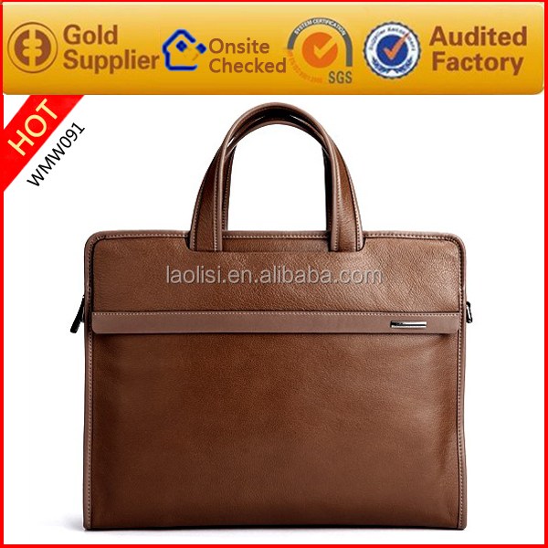 Free customized logo 100% genuine leather briefcase bag men's leather