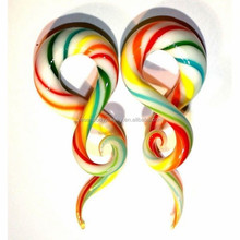 Colorful Pyrex Glass Snake-like Shape Ear Spiral Taper Gauge Ear Piercing Stretcher Jewelry