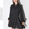 Fashion Long Sleeve Black Chiffon Dress Latest Adult Baby Doll Dress HSD6676