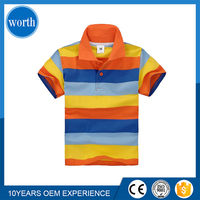(Design my own brand) 100% Cotton Stripe Kids Polo T shirt Import from China OEM Acceptable