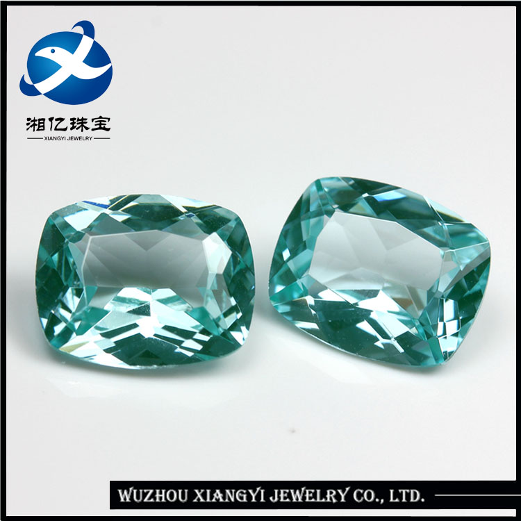 Xiangyi Factory Prices Hot Shape Lab Created Cushion Green Spinel Gemstone Sapphire Machine Cut Synthetic Stone
