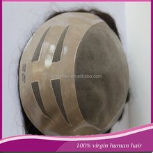 Good quality #1B colour remy human hair mono+pu toupee for men