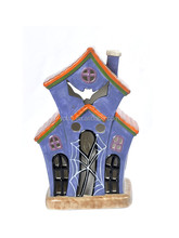 Halloween House shape Ceramic led Candle holder
