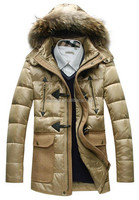 European Style Mens Winter Thick Down Coat For Men With Fur Collar