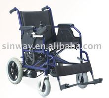 Folding and lightweight electric motor power wheelchair with battery