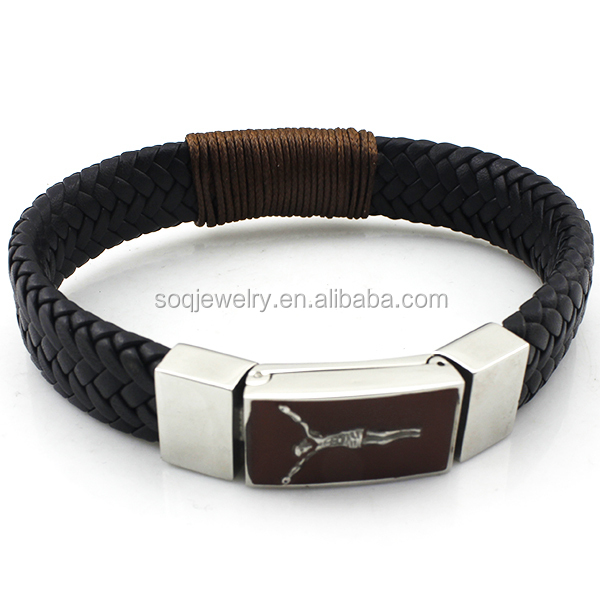 Alibaba Wholesale Black Braided Anchor Leather Men Bracelet with Steel Jesus Charm Jewelry