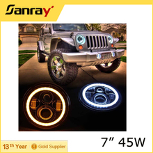 "Motorcycle 7"" Inch Round Hi/lo Beam Jeep LED Headlight with Halo Ring for Jeep Wrangler"