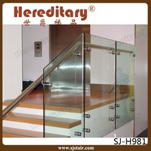 indoor staircase tempered glass railing and glass handrail / glass standoff pin