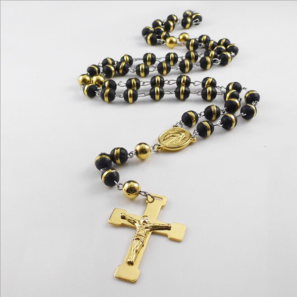 Yiwu Aceon Stainless Steel Cross Pendant Black silicone bead long chain 24k gold necklace