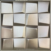 183 embossed small square shape 3d leather wall tile