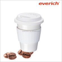 2015 new advertising factory 300ml ceramic mug with silicone lid