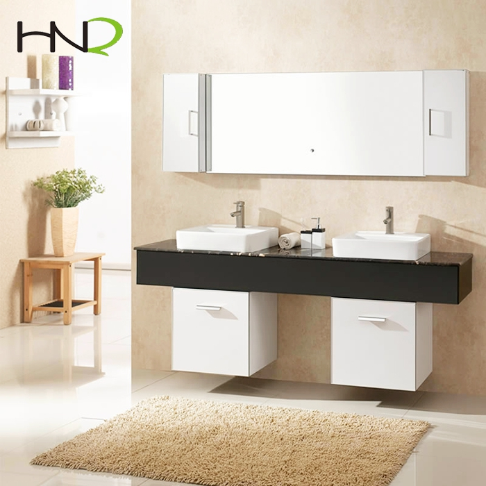 chinese factory HNQ hotel furniture large size bathroom storage unites vanity cabinet with double sink