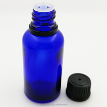 Wholesale cobalt blue 20ml round glass essential oil bottle with insert dropper piepette