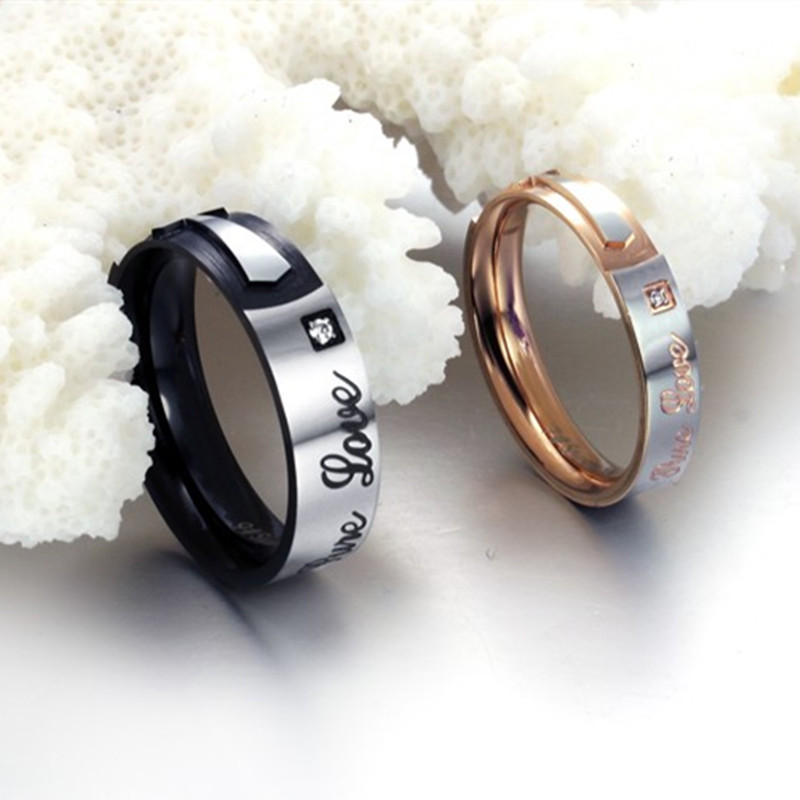 2015 New Fashion Jewelry 316L Stainless Steel Rings Black Simple Circle Cross Crystal Couple Rings Wedding Rings Engagement Ring