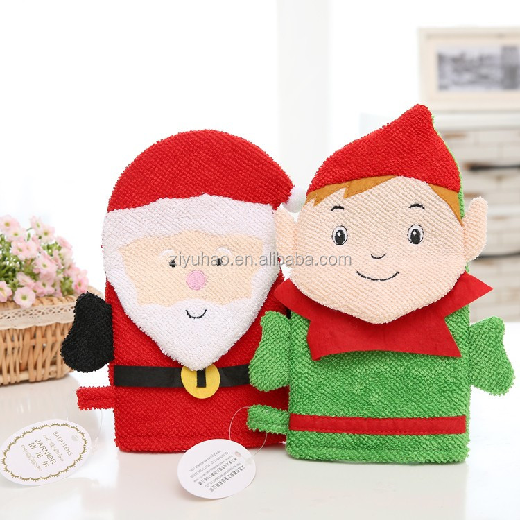 Promotional softtextile bath glove, christmas baby bath glove