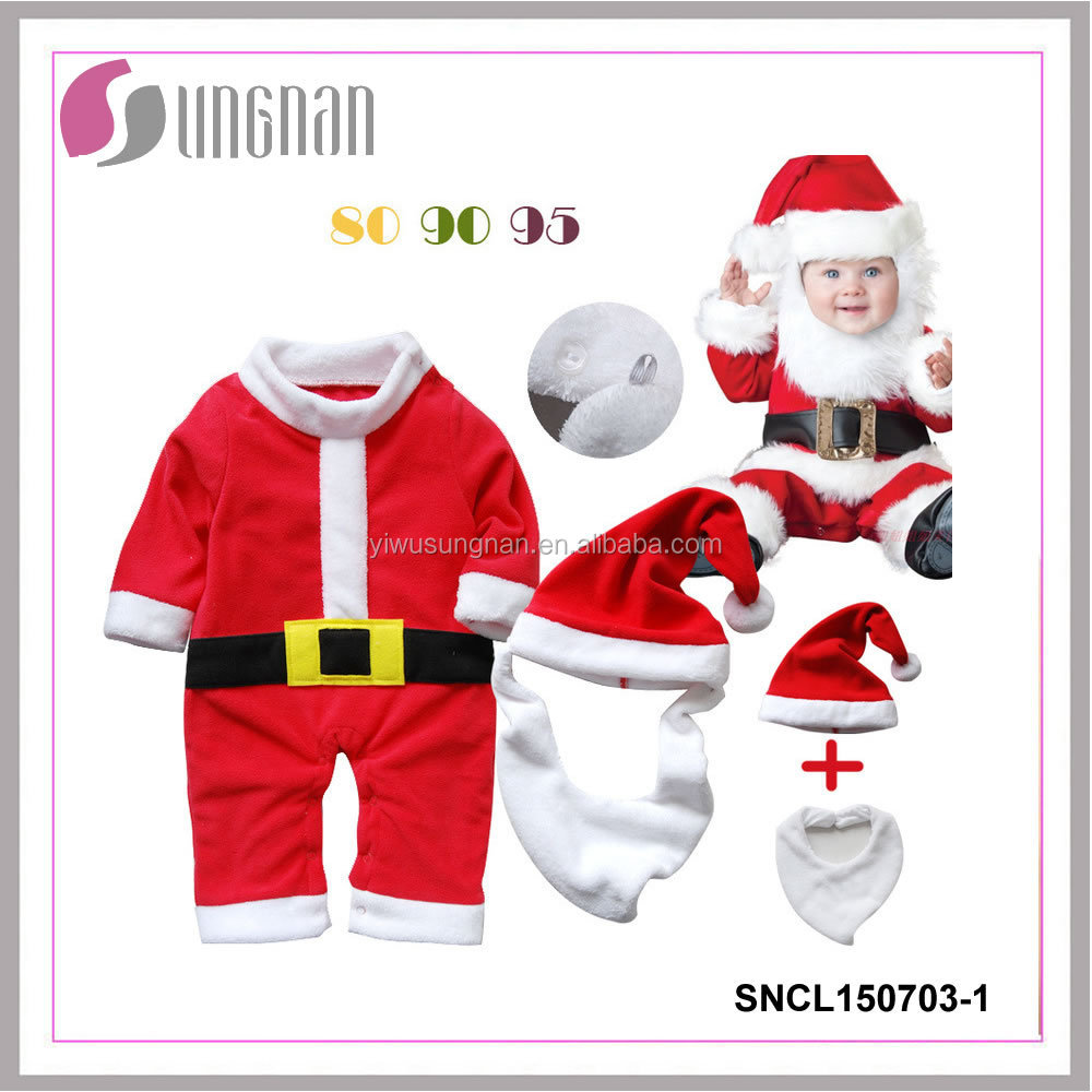 new style christmas hats,beard,baby rompers promotion christmas three-piece