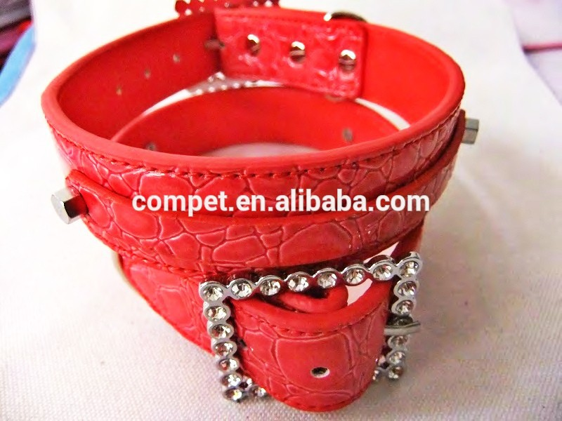 2.5cm Hot Red Crocodile Dog Collar rhinestone buckle pet collar for Dogs