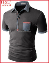 Man vogue polo t-shirt with chest pocket in charcoal