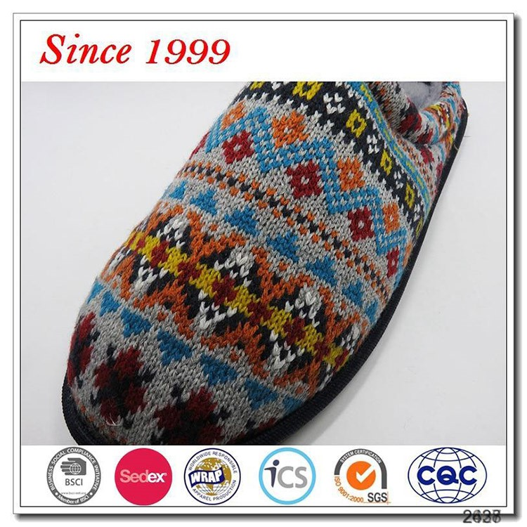 New design cashmere knitted winter warm plush lined man slippers