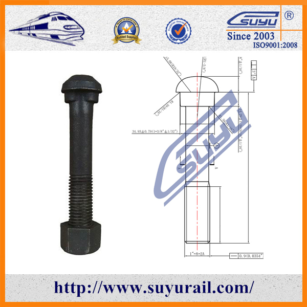 Black Oiled Surface Steel 45# Rail Joint Bolts / Round Head Oval Neck Fish Bolt