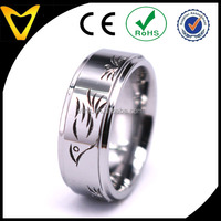 Custom Made Hand Carved Wedding Band Design Tungsten Caribde Bird Pattern Hand Engraved Ring