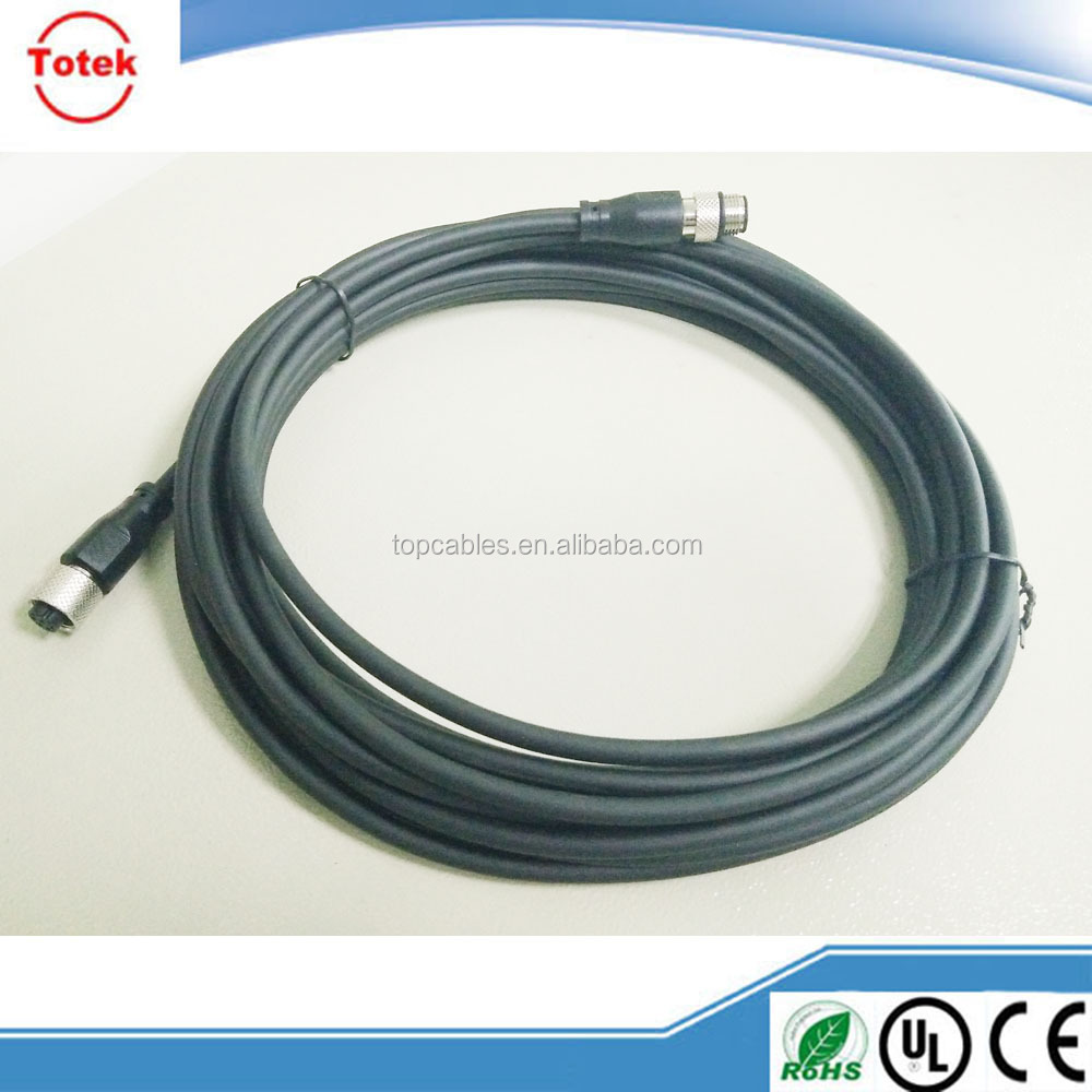 M12 molded male to female connector with cable