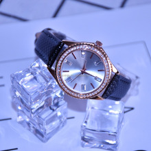 2018 Fashional Diamond Edge Case Women Watches with Leather Bracelet Watch Factory Supply OEM Watch