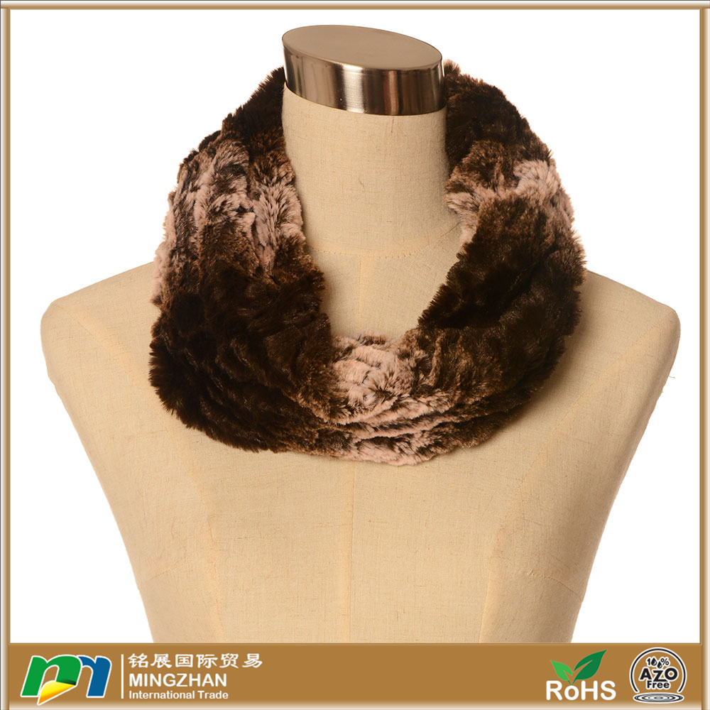 Womens Warm Faux Rabbit Fur Round Neck Scarf