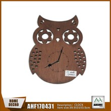 Distinctive Unfinished Owl Shape Hollow Out Decoration Wooden Wall Clock