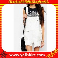 New arrival wholesale fashion comfortable cotton/polyester rough selvedge overalls denim white jumpsuit