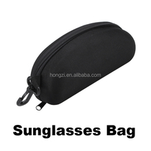 Zipper Eye Glasses Sunglasses Hard Case Cover Bag Storage Box Portable Protector Black