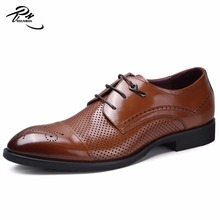 Brown genuine soft comfortable calf leather custom made Italian style men business dress shoe, leather shoe for men