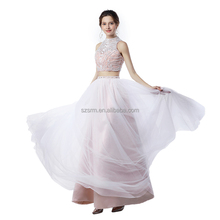 Two Piece A Line Party Prom Dress Pink Floor Length Zipper Beading Sequins Sleeveless Tulle Evening Dress