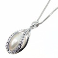 Wholesale Pearl Necklace Sterling Silver Jewelry Freshwater Pearl Pendant With Zircon For Women DSC06284
