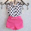 Top high quality Wave point baby girls boutique sleeveless fashion Pants suit summer dots clothing set with bow