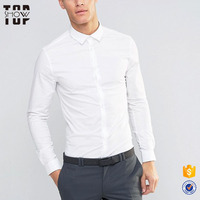 High quality clothing manufacturers white front button mens slim fit dress shirts men