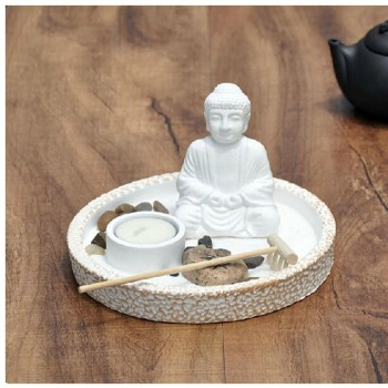 white buddha mini zen garden mini garden accessories buy. Black Bedroom Furniture Sets. Home Design Ideas