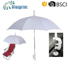 2015 New Design White Pongee Material Clip On Umbrella