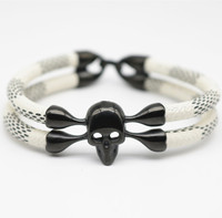 Gothic black Skull Bracelet High Quality PU Stainless Steel Bracelet For Men
